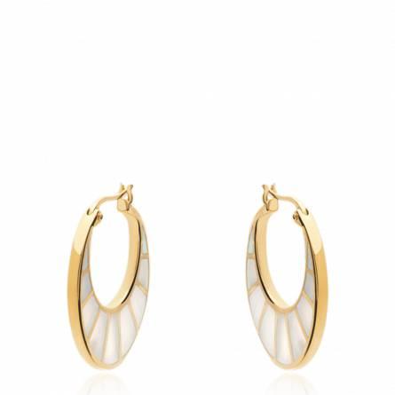 Boucles d'oreilles femme plaqué or Della ronde blanc