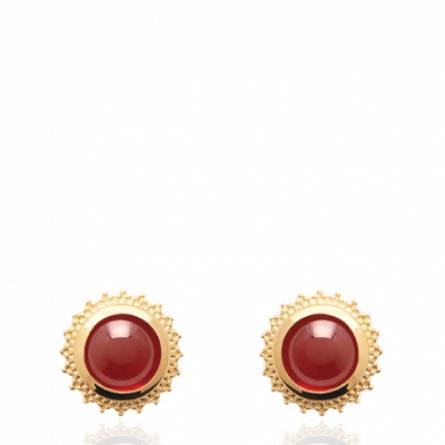 Boucles d'oreilles femme plaqué or Derlia rouge