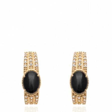 Boucles d'oreilles femme plaqué or Elecia créoles noir