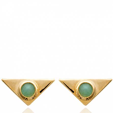 Boucles d'oreilles femme plaqué or Estar triangle vert