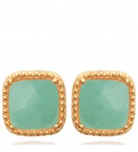 Boucles d'oreilles femme plaqué or Evalia carrée vert