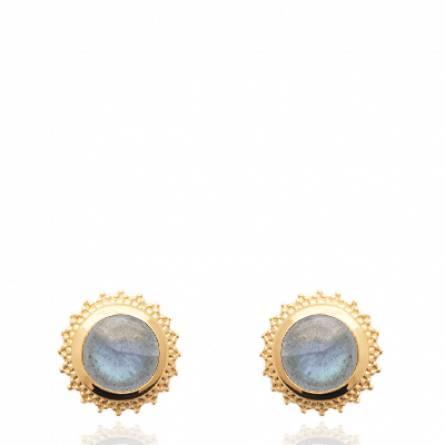 Boucles d'oreilles femme plaqué or Felia Labradorite