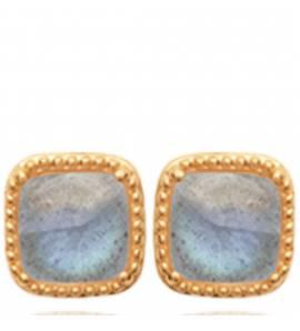 Boucles d'oreilles femme plaqué or Feliz carrée bleu