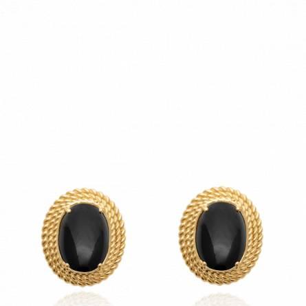 Boucles d'oreilles femme plaqué or Fereol noir