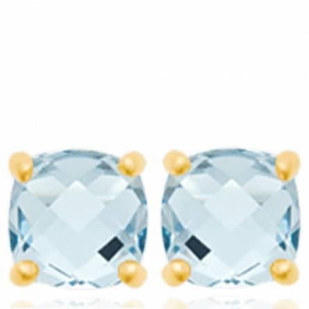 Boucles d'oreilles femme plaqué or Flaerys bleu