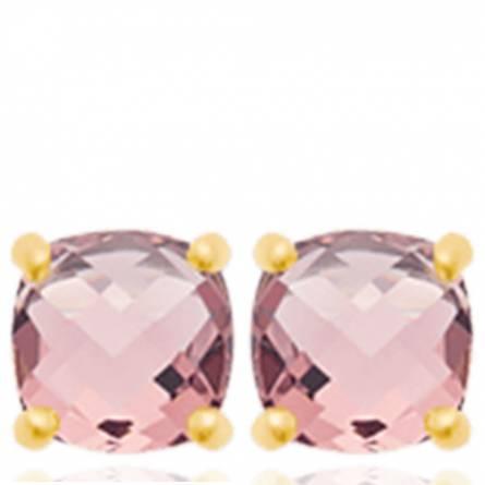 Boucles d'oreilles femme plaqué or Flori rose