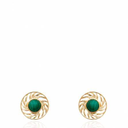 Boucles d'oreilles femme plaqué or Fulisia ronde vert