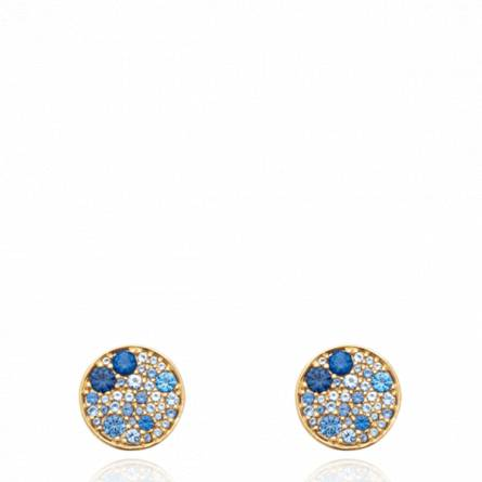 Boucles d'oreilles femme plaqué or Garay ronde bleu