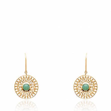 Boucles d'oreilles femme plaqué or Hadne ronde vert