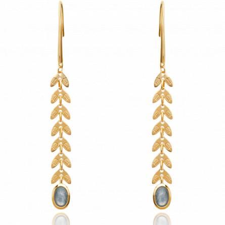 Boucles d'oreilles femme plaqué or Hedera bleu