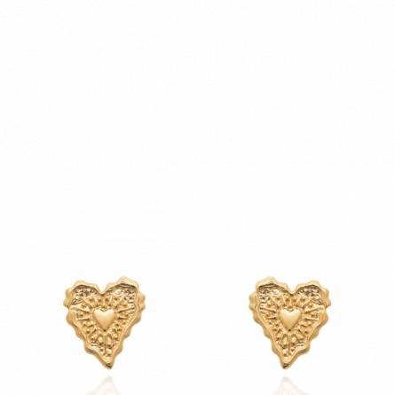 Boucles d'oreilles femme plaqué or Heila coeur