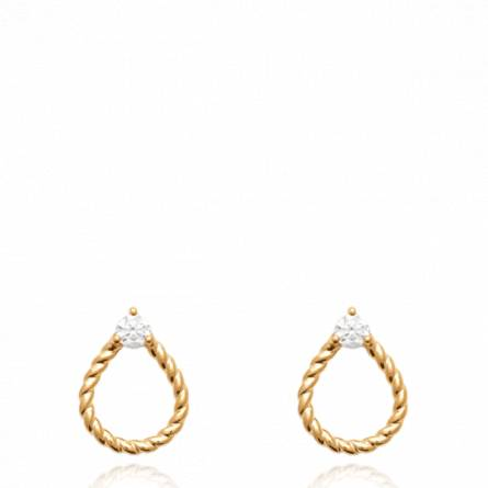 Boucles d'oreilles femme plaqué or Hialline