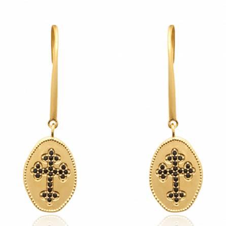 Boucles d'oreilles femme plaqué or Iarylis croix noir