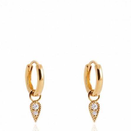 Boucles d'oreilles femme plaqué or Izana