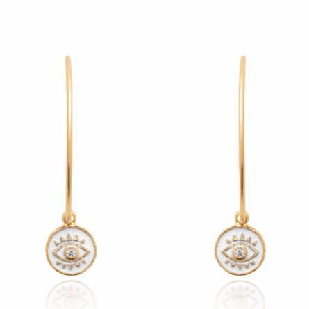 Boucles d'oreilles femme plaqué or Kalye ronde blanc