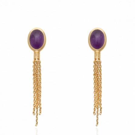 Boucles d'oreilles femme plaqué or Katarzina violet