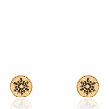 Boucles d'oreilles femme plaqué or Kimamy ronde noir