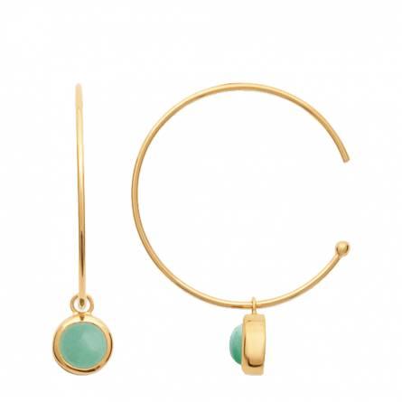 Boucles d'oreilles femme plaqué or Kuena ronde vert
