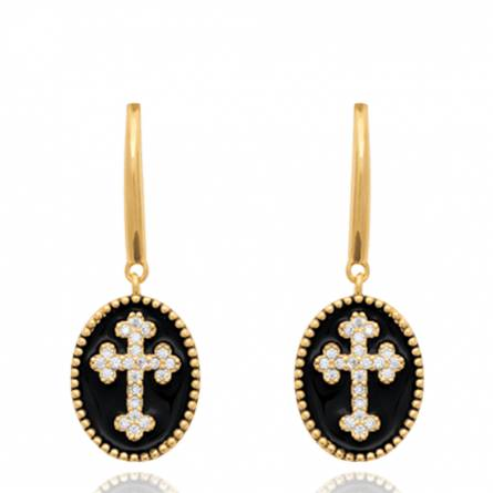 Boucles d'oreilles femme plaqué or Lavelta croix noir