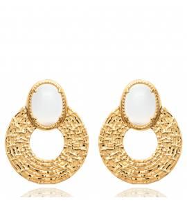 Boucles d'oreilles femme plaqué or Leyna ronde blanc