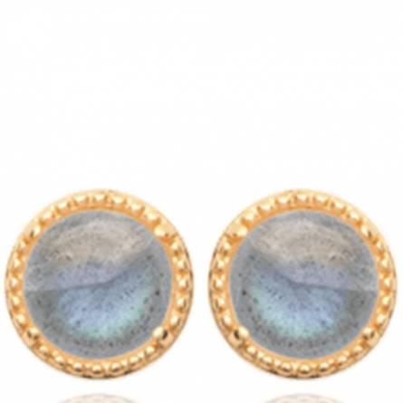 Boucles d'oreilles femme plaqué or Lite ronde bleu