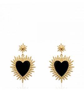 Boucles d'oreilles femme plaqué or Luam coeur noir