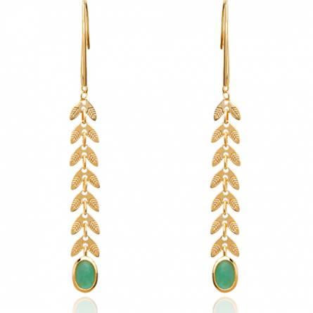 Boucles d'oreilles femme plaqué or Lysoe vert