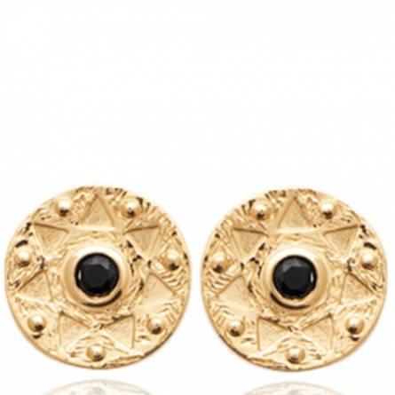 Boucles d'oreilles femme plaqué or Lyvira ronde noir