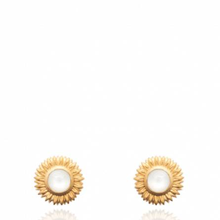 Boucles d'oreilles femme plaqué or Macel blanc