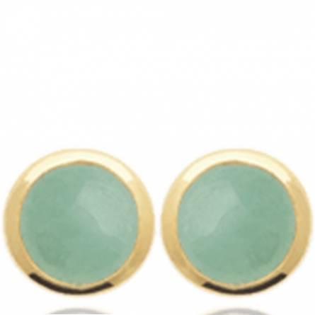 Boucles d'oreilles femme plaqué or Maerora ronde vert