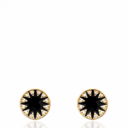 Boucles d'oreilles femme plaqué or Magino ronde noir
