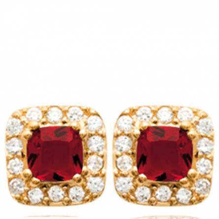 Boucles d'oreilles femme plaqué or Manisa carrée rouge