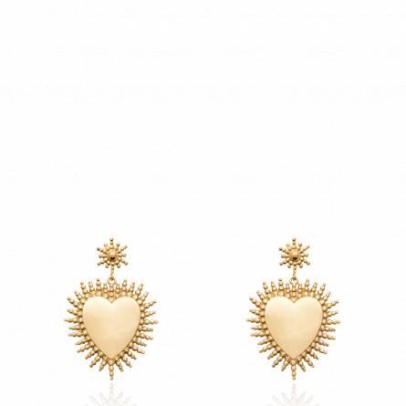 Boucles d'oreilles femme plaqué or Merceya coeur