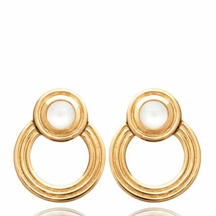 Boucles d'oreilles femme plaqué or Morya ronde blanc