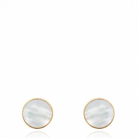Boucles d'oreilles femme plaqué or Naltane ronde blanc