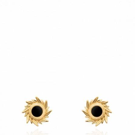 Boucles d'oreilles femme plaqué or Nasba noir