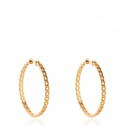 Boucles d'oreilles femme plaqué or Nersia créoles