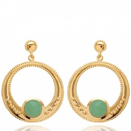 Boucles d'oreilles femme plaqué or Nyvise ronde vert