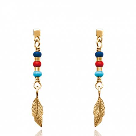 Boucles d'oreilles femme plaqué or Oana bleu