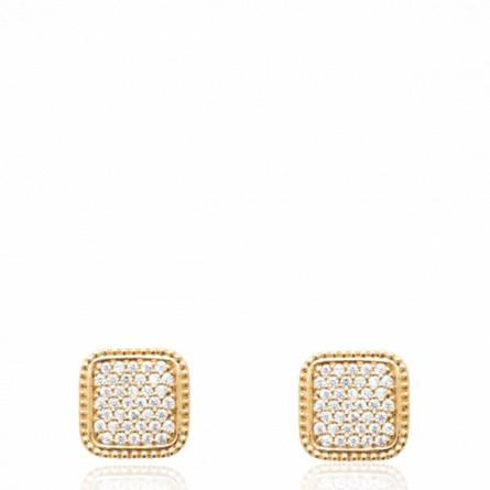 Boucles d'oreilles femme plaqué or Obana carrée
