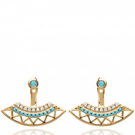 Boucles d'oreilles femme plaqué or Ode arrondie bleu