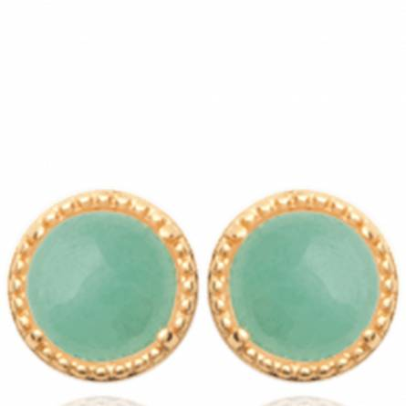Boucles d'oreilles femme plaqué or Oline ronde vert