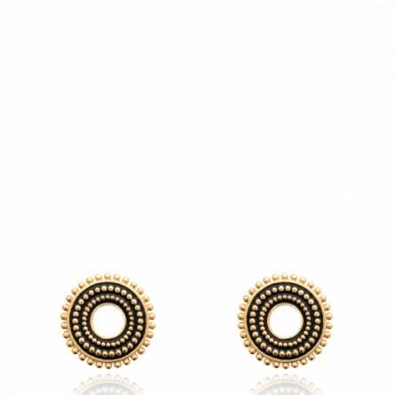 Boucles d'oreilles femme plaqué or Oryba ronde noir