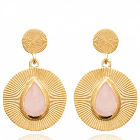 Boucles d'oreilles femme plaqué or Phynara ronde rose