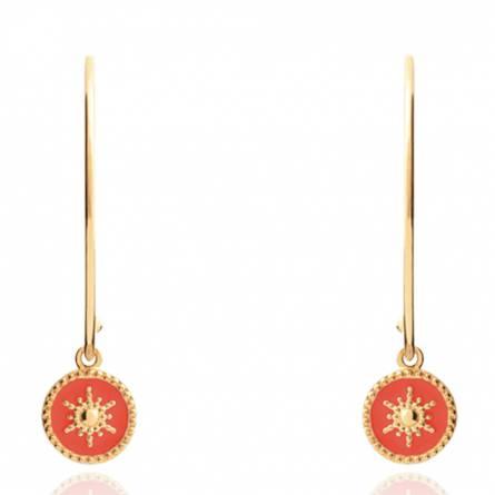 Boucles d'oreilles femme plaqué or Ralsa ronde rouge