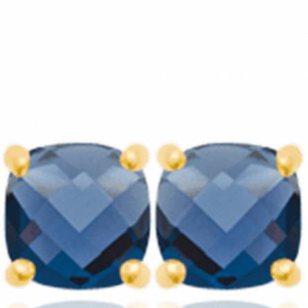 Boucles d'oreilles femme plaqué or Rysna bleu