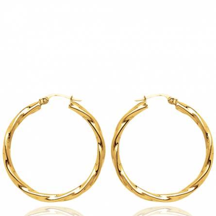 Boucles d'oreilles femme plaqué or Sagesi ronde