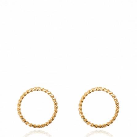 Boucles d'oreilles femme plaqué or Sakor ronde