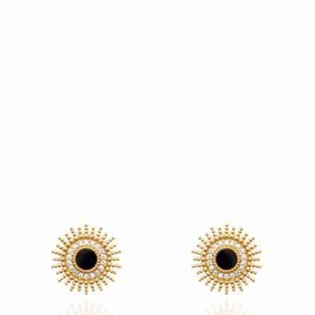 Boucles d'oreilles femme plaqué or Saleya  ronde noir