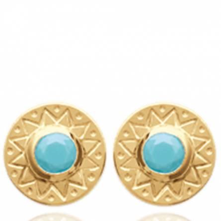 Boucles d'oreilles femme plaqué or Sarin ronde bleu